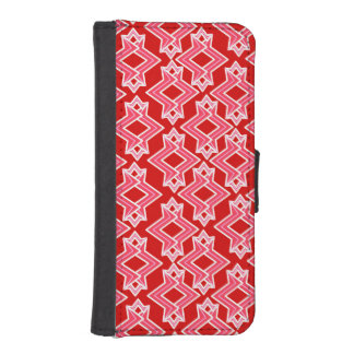 Art Deco Wallpaper Pattern, Dark Red and Pink iPhone SE/5/5s Wallet Case