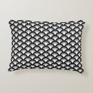 Art Deco wave pattern - black and white Decorative Pillow