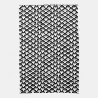 Art Deco wave pattern - black and white Kitchen Towel
