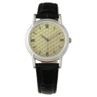 Art Deco wave pattern - metallic gold Watches