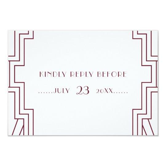 Art Deco Wedding Burgundy RSVP Card