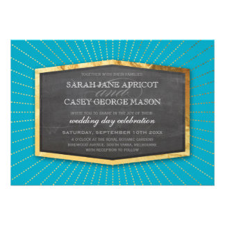 ART DECO WEDDING gold sunburst gray turquoise blue Personalized Announcement