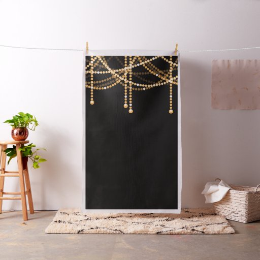 Art Deco Wedding Photo Backdrop Gold String Lights Fabric
