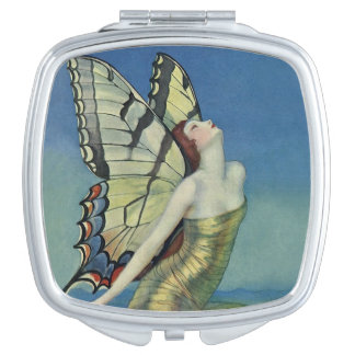 Art Deco Whimsical Butterfly Mirrored Compact Makeup Mirror