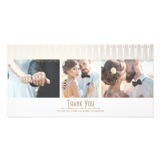Art Deco White and Gold Photo Wedding Thank You Card