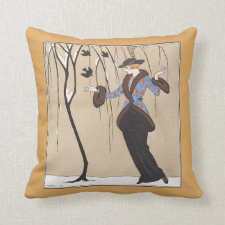 Art Deco Winter Scene Throw Pillow