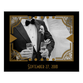 Art Deco with Your Wedding Photo Poster
