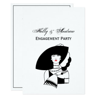 Art Deco Woman In Big Hat Gloves RL Card