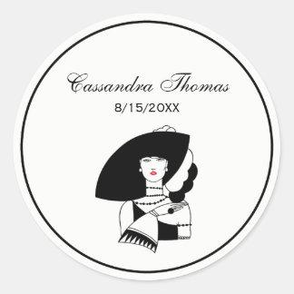 Art Deco Woman In Big Hat Gloves RL Classic Round Sticker