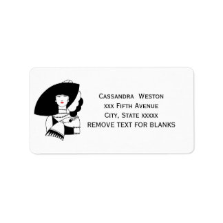 Art Deco Woman In Big Hat Gloves RL Label
