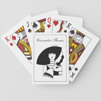 Art Deco Woman In Big Hat Gloves RL Playing Cards