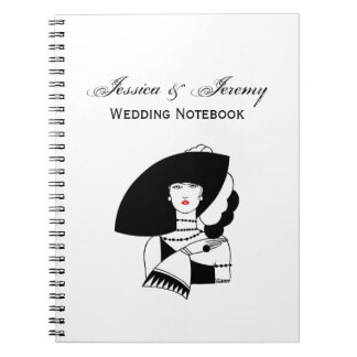 Art Deco Woman In Big Hat Gloves RL Spiral Notebook