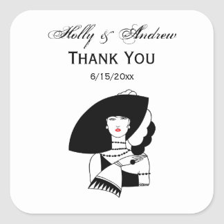 Art Deco Woman In Big Hat Gloves RL Square Sticker