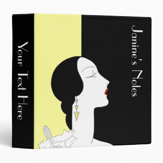 Art Deco Woman in Profile Vinyl Binder