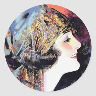 Art Deco Woman in Scarf Classic Round Sticker