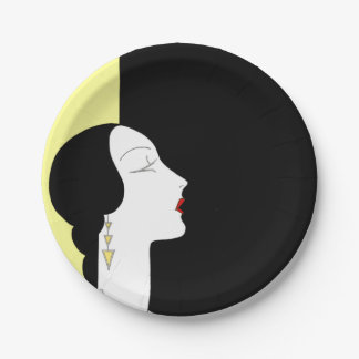 Art Deco Woman With Black and Pale Yellow 7 Inch Paper Plate