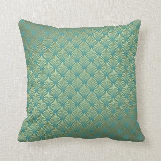 Art Deco Yacht Club Mint Green Golden Seashells Throw Pillow