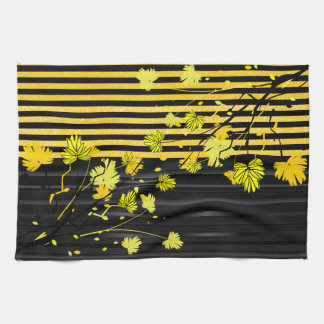 Art Deco Yellow and Black Floral Towels