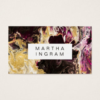 Art Design Abstract Fluid Dark Purple and Gold Business Card
