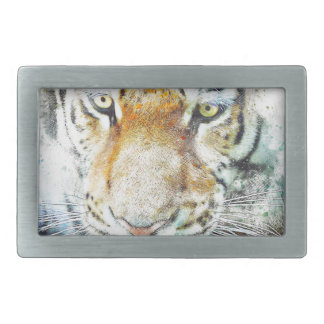 art design tiger rectangular belt buckles