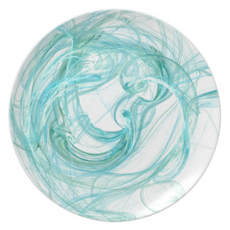 "Art Dinner Plate #1: ""Fractals"" Brilliant Aqua"