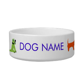 Art Dog Bowl: Crazy John Dyer Dogs Pet Bowls