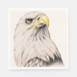 Art Drawing Of  Eagle Paper Napkin