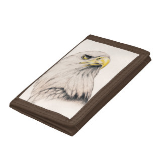 Art Drawing Of  Eagle Tri-fold Wallets