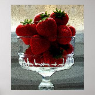 Art Effect Strawberry Still Life Poster