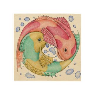 Art entourant de mur de Wodden de poissons Impressions Sur Bois