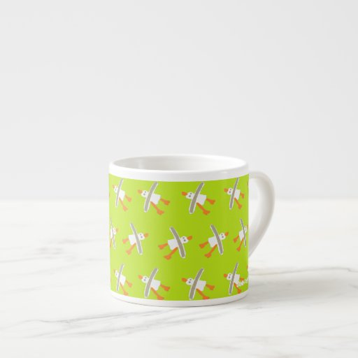 Art Espresso Mug: John Dyer Seagull Design Lime
