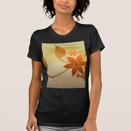 Art et conception floraux oranges t-shirts