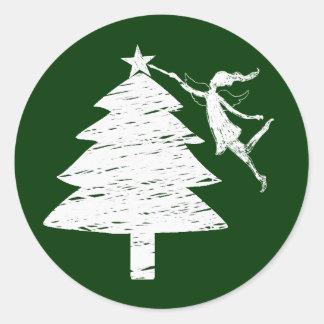 Art Fairy Christmas Tree Classic Round Sticker