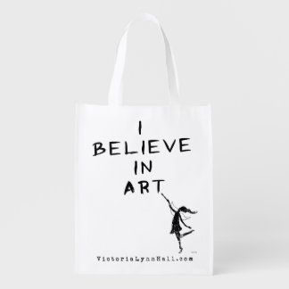 Art Fairy: I Believe In Art Promotional Value Reusable Grocery Bags