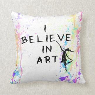 Art Fairy: I Believe In Art Watercolor Run Pillows