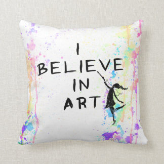 Art Fairy: I Believe In Art Watercolor Run Throw Pillow