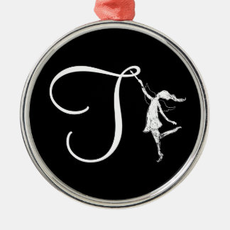 Art Fairy Initial: T Silver-Colored Round Ornament