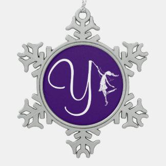 Art Fairy Initial: Y Snowflake Pewter Christmas Ornament