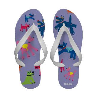 Art Flip Flop: John Dyer Crazy Dogs Sandals