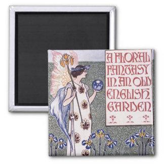 Art floral dans un jardin anglais magnet carré