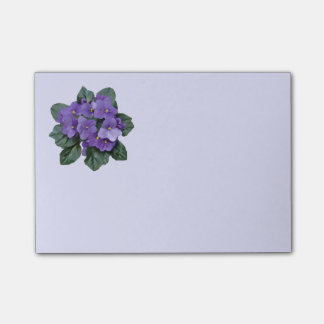 Art floral de fleur pourpre de violette africaine notes post-it