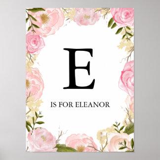 Art floral de mur de nom de crèche de guirlande poster