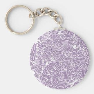 Art floral violet porte-clé rond