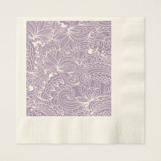 Art floral violet serviettes en papier