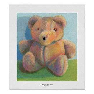 Art for kids teddy bear fun plush stuffed animal poster