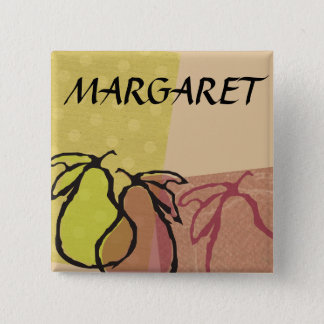 Art fruit pears cooking baking name badge 2 inch square button