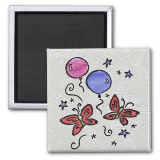 Art Glass Butterflies and Balloons Magnet