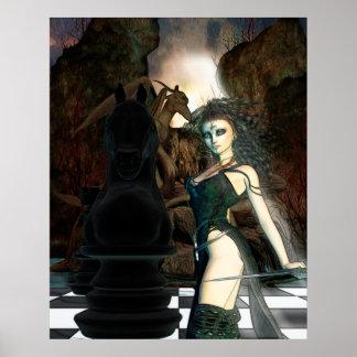 Art gothique d'imaginaire d'échecs posters