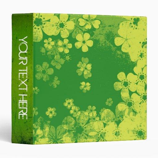 Art grunge green floral pattern and modern design 3 ring binder