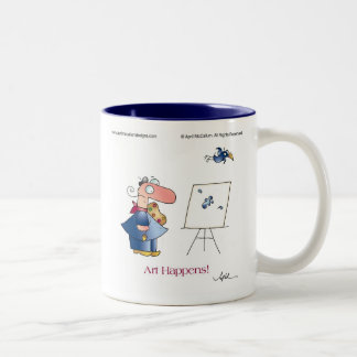 ART HAPPENS! by April McCallum Two-Tone Coffee Mug